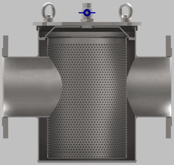 Basket type strainer open versie